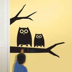 owl chalkboard wall stickers - want! Wallpaper Stickers, Wallpaper Murals, Animal Wall Decals, Kids Wall Decals, Dry Erase Wall, Chalk Wall, Chalkboard Walls, Chalkboard Ideas, Tatoo