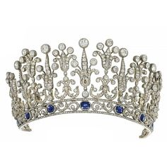 A LATE 19TH CENTURY SAPPHIRE AND DIAMOND TIARA NECKLACE ❤ liked on Polyvore featuring jewelry, tiara, crowns, accessories, sapphire jewelry, crown jewelry, diamond jewelry, sapphire jewellery and wine jewelry