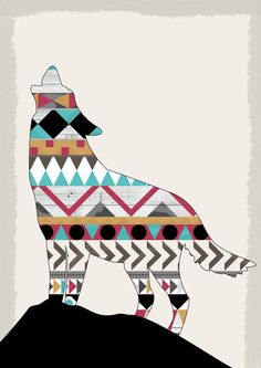 Wild Soul - Aztec Navajo Wolf Art Print