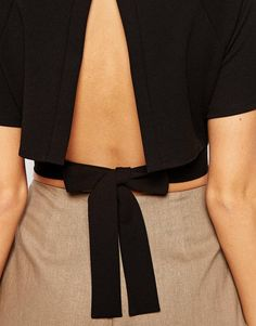 Image 3 - ASOS Kimono Crop Top With Obi Tie And Open Back