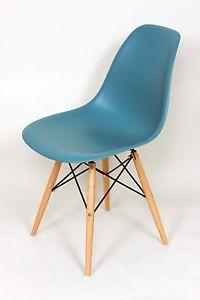 DSW or DSR MCM Molded Plastic Side Chair Eiffel Dowel Leg Wood Eames Esque | eBay $109.00