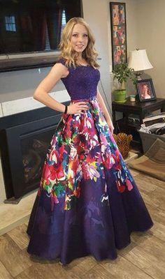 modest purple floral prom dresses, unique a line party dresses with beading, elegant evening dresses with pleats