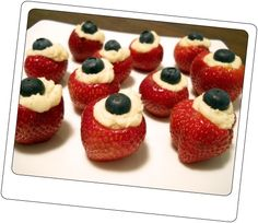 strawberry canapes... Cute for the 4th of July.