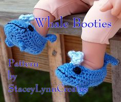 Crochet Whale Booties  (for more happy healthy humorous hoopspiration please check out: www.HipTheHoopla.com & www.facebook.com/HipTheHoopla ... thanks! :) Also www.ToucheToon.com (cartoon humor) & www.DatingAndHandGrenades.com (relationship humor)