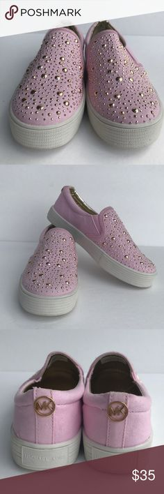 Michael Kors Girls Slip-on Sneaker Michael Kors Ivy Sage Light Pink Girls Slip on sneaker, gold studs make for a stylish and edgy look. These are so cute! Size 13, like New has price written on sole. Smoke free home. Michael Kors Shoes Sneakers