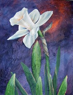 Single Daffodil At Midnight -- A single daffodil highlights this dramatic painting.  #decoartprojects