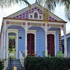#ShotgunHouse, colorful purple, blue, line green and white color scheme.  I love the multi-color shingles n the gable.  Lovely. #NOLA Architecture.