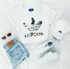 adidas, outfit and white image – – - school outfits Cute Summer Outfits, Cute Casual Outfits, Summer Shoes, Casual Summer, Spring Shoes, Outfit Summer, White Girl Outfits, Summer Dresses, Beach Outfits