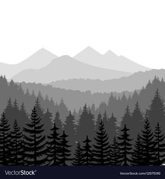 Illustration of Pine forest and mountains vector backgrounds. Panorama taiga silhouette illustration vector art, clipart and stock vectors. Mountain Mural, Forest Mountain, Pine Forest, Forest Silhouette, Mountain Silhouette, Silhouette Painting, Landscape Silhouette, Forest Drawing, Mountain Background