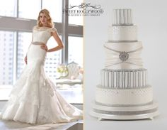 Sweet Hollywood Present our Classic Diamonds & Pearls Bespoke Wedding Cake!The beautiful bridal outfit that features in this image is from Essence of Australia. Bling Wedding Cake