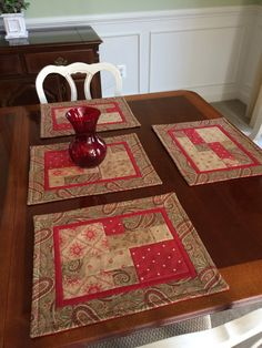 4 Quilted Placemats in Red Moda fabrics for Year Round by seaquilt,