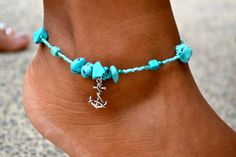 Turquoise Howlite and Aqua Crystal Anklet by uniquebeadingbyme
