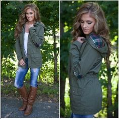 ⭐️S Only⭐️NWT Plaid Elbow Patch Utility Jacket NWT Plaid Elbow Patch Utility Jacket in Olive Green. Adorable lightweight hooded utility jacket with plaid hood and elbow patch detailing! Front snap pockets, stylish zipper detail at the shoulder. Inner tie can cinch the waist if desired. Front zipper, longer length! 100% cotton, unlined, fits true to size. Available in S (0-4), Or L (10-12)No Trades and No Paypal ⭐️PLEASE DO NOT BUY THIS LISTING, COMMENT WITH SIZE AND I WILL MAKE A NEW LISTING…