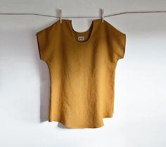 Linen Tunic Mustard Blouse Linen Clothing by THIMBLEandACORN