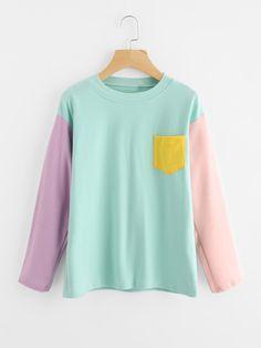 Drop Shoulder Contrast Sleeve T-shirt