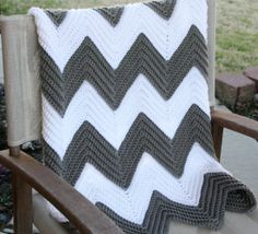 Chevron Afghan. Love the gray and white