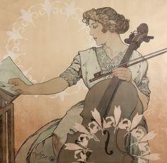 Alfons Mucha - Zdenka Cerny, the Greatest Bohemian Violoncellist, 1913