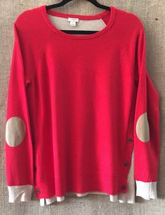 J.CREW Women M Tunic Rayon Wool Blend Sweater~Crew Neck~Suede Elbow Patches  #JCrew #Crewneck
