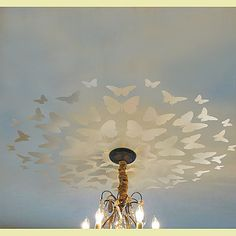 paint with glow in dark paint? Stencil Butterfly Medallion, Great for Nursery ceiling, Reusable stencils for easy DIY decor. $39.95, via Etsy.