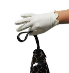 Matte Finish Stretch Cotton Gloves with Pearl Trimmed Scalloped Cuff