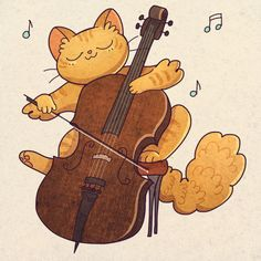 Little cat playing a little cello - asmithart.tumblr.com