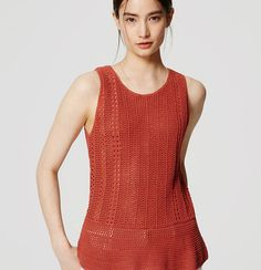 New Ann Taylor LOFT Womens Open Knit Orange Crochet Tank Top Size Large  #AnnTaylorLOFT #TankCami #Casual