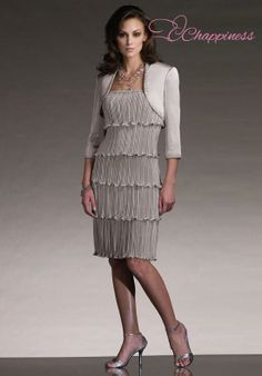 Mother of the bride dress Knee Length Chiffon mother of the bride dresses with jacket