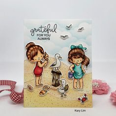 A beach scene. Stamps by Hello Bluebird. Grateful For You, Beach Scenes, Blue Bird, Stamps, My Style, Cards, Handmade, Seals, Hand Made