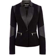 Karen Millen Faux leather jersey blazer ($305) found on Polyvore