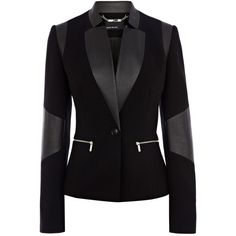 Karen Millen Faux leather jersey blazer