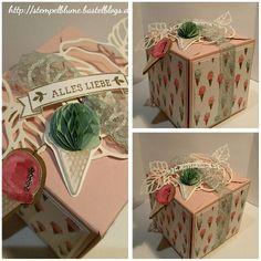 StampinUp, Punch Board für Geschenkschachteln, Thinlits Gartenrosen, SAB Stempelset So Süß...