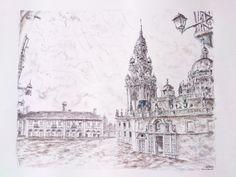 Plaza de la Quintana, Santiago de Compostela, Spain. Carlos Pardo 2016 Ink on paper Canson, 70x50 cms