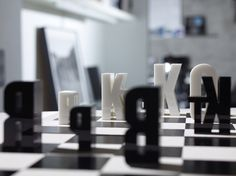 Typographic Chess Set by Hat Trick Design Is Letter Perfect. http://ifitshipitshere.blogspot.com/2012/11/typographic-chess-set-by-hat-trick.html