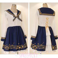 Lolita Lace Sailor Uniform Set with Back Straps Pre-Order Free Shipping SP140540