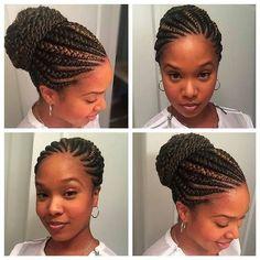 Gorgeous with her Ghana braids on a bun  /huneybflyy/ #curlkit #naturalhair…