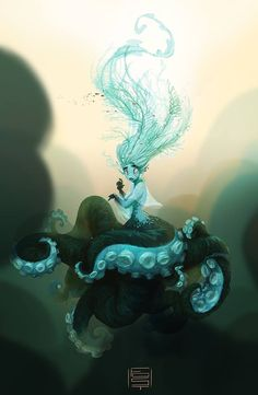 The Character Design Challenge! Octopus maid aka cecaelia. Artist unknown.