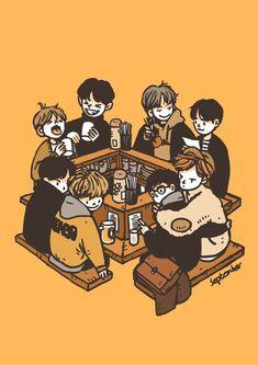 @maaaraaamaaa #EXO Chanyeol, Baekhyun Fanart, Kpop Fanart, Exo Anime, Exo Fan Art, Exo Lockscreen, Cute Cartoon Wallpapers, Aesthetic Art, Cartoon Art