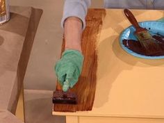 DIYNetwork.com experts show how to create a faux wood-grain look on a table using gel stain and a wood-graining rocker.