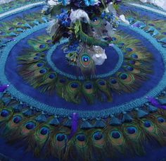 Peacock Feather Wedding Tablecloth AND Peacock Feather Christmas Tree Skirt in Peacock Colors Peacock Crafts, Peacock Decor, Peacock Colors, Peacock Art, Peacock Theme, Peacock Wedding, Peacock Feathers, Peacock Crochet, Peacock Ornaments