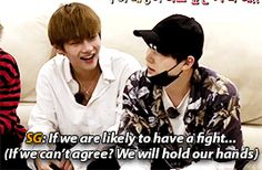 """Yoongs talking about how he is like an older bro to TaeTae ♡ this is just like what parents would get their children to do if they fight hahahaha """"Hold hands with your sibling!"""""""