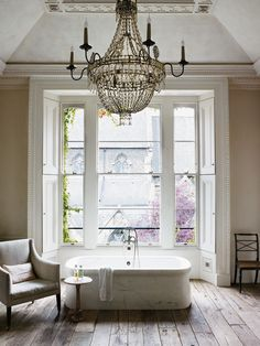 My dream home revolves around a dream bathroom. I love how this one is both minimal and opulent. Natural light pouring in and a crystal chandelier, I would spend entire Sundays here. #SWSHAREYOURLIFE