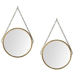 Pair of Round Mirrors in Brass Produced in Sweden | 1stdibs.com
