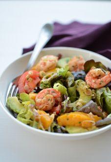 Salade de crevettes avocats et mangue