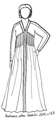 A gown based on a find from Uvdal, Norway. Follows the recreation of a period gown with an unusual cut.