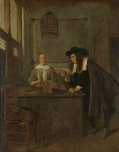 Quiringh Gerritsz. van Brekelenkam   Interior with Lace-Worker and a Visitor, Quiringh Gerritsz. van Brekelenkam, 1650 - 1668   Interieur waarin een man voorovergebogen leest uit een klein boek. Hij leunt aan een tafel waaraan een jonge vrouw bezig was met kantklossen. Zij lacht naar de man en houdt een roemer met wijn in haar hand. Aan het plafond hangt een vogelkooi, tegen de wand een wandkaart aan stokken.