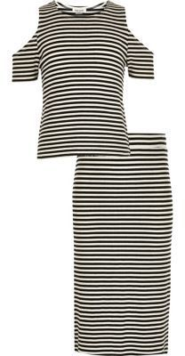 41840857a96 River Island Girls white stripe top skirt co-ord outfit