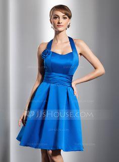 A-Line/Princess Halter Knee-Length Satin Homecoming Dress With Ruffle Flower(s) (022014795) - JJsHouse