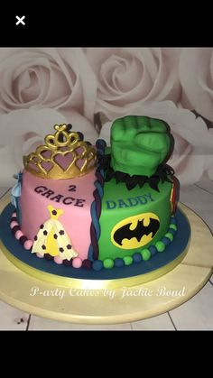 Combine two themes for a joint birthday Princess and superhero cake! Birthday Cake For Father, Twin Birthday Cakes, Superhero Birthday Cake, Birthday Ideas, Happy Birthday, Sibling Birthday Parties, Combined Birthday Parties, Joint Birthday Parties, Theme Parties