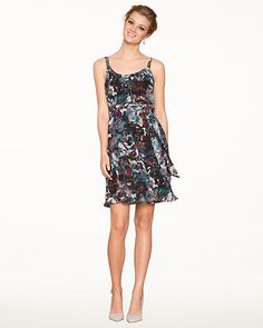 Abstract Print Chiffon Cocktail Dress - An artful abstract floral print creates a unique look for this chiffon fit & flare dress.