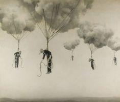 surreal men flying  clouds